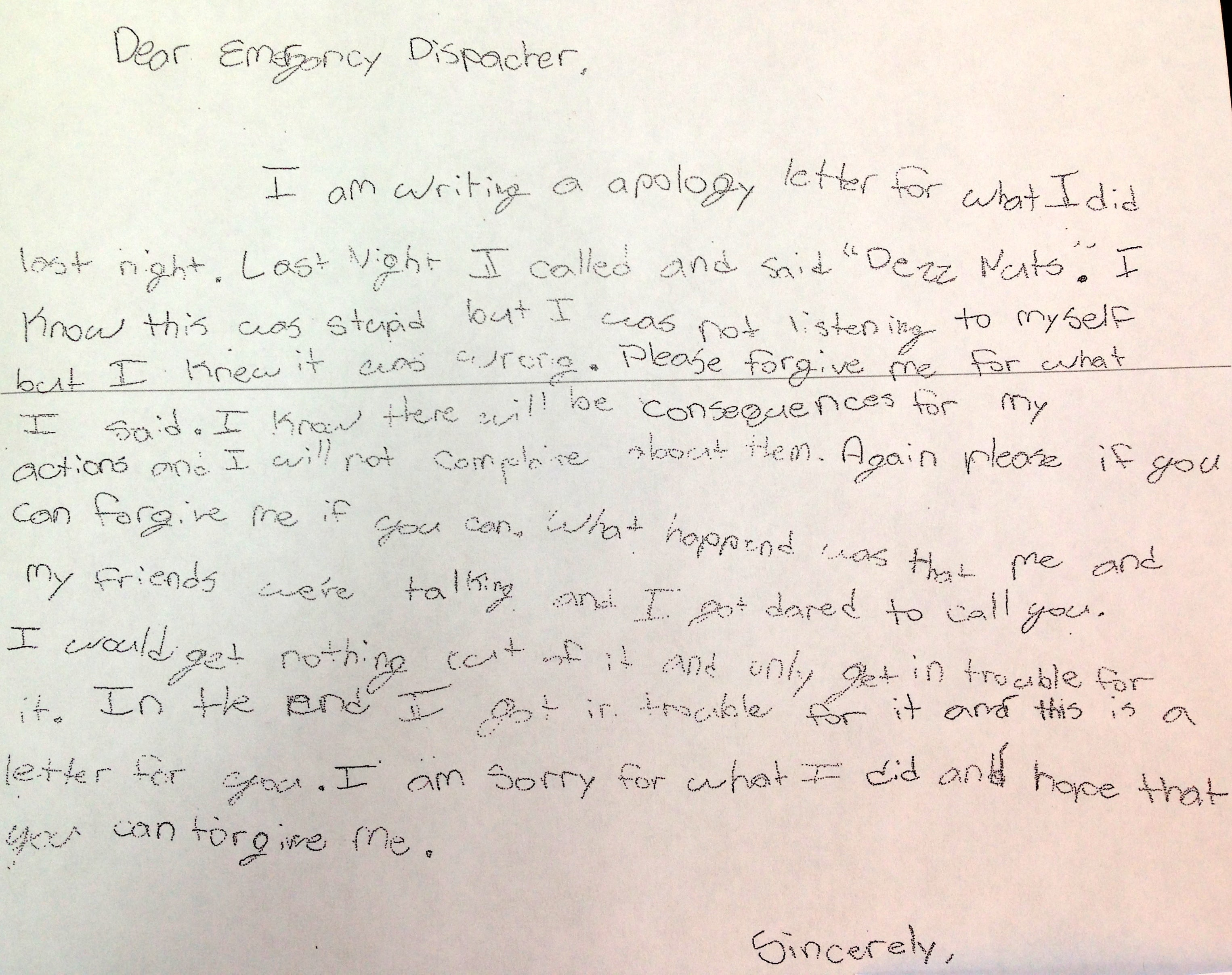 Sixth Grader Writes Apology Letter For Prank Call To 911