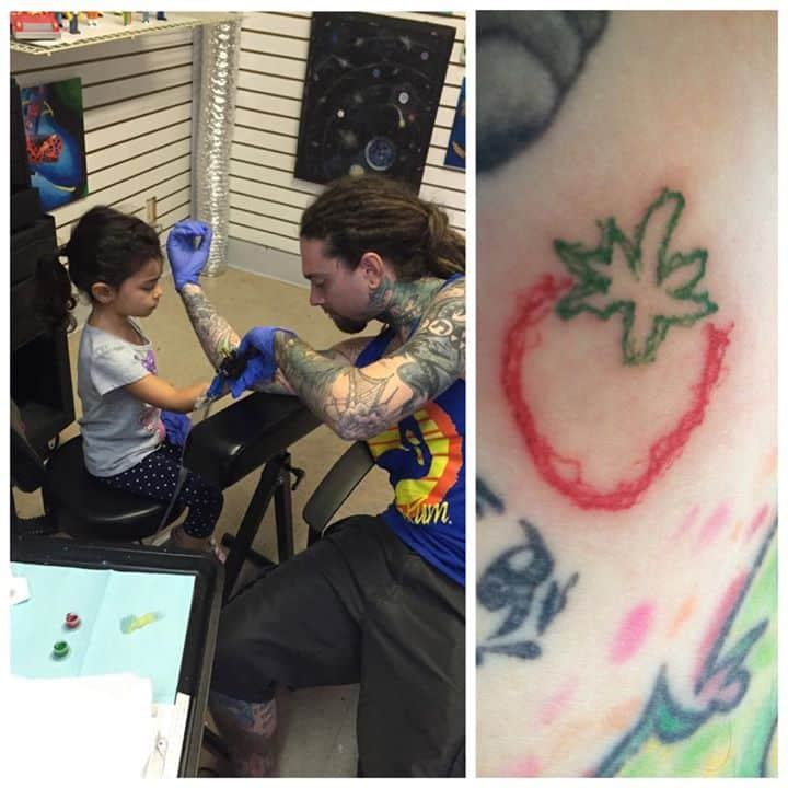 Sweet dad lets 4 year old daughter give him a real tattoo for Kids with real tattoos