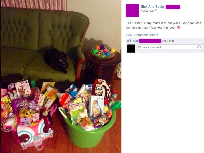 Stfu parents excessive easter on facebook its not a basket if its made out of plastic and has thick rope handles sorry nick and becky but those are tubs of gifts im trying to imagine negle Images
