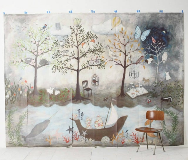 anthropologie-wall-mural