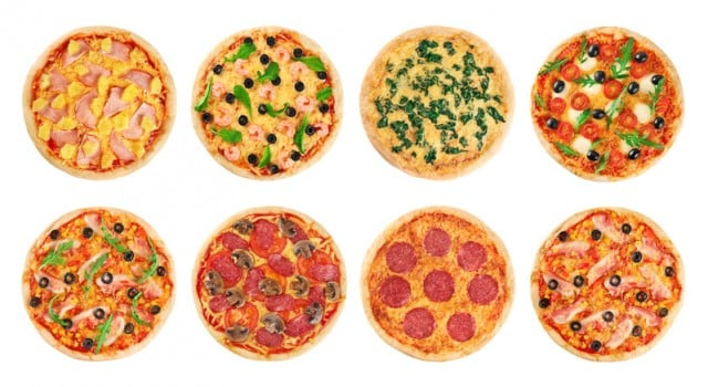 Pizza on a white background. Collection.