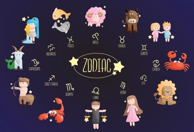 zodiac color sign symbol cartoon illustration