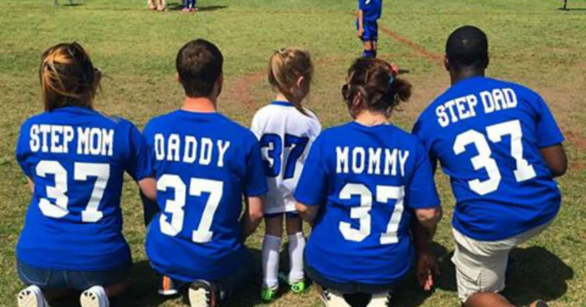 blended family co-parenting at soccer game facebook photo