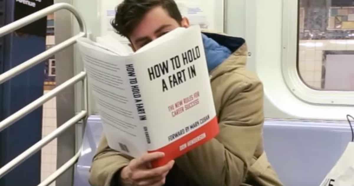 Fake books on the subway prank