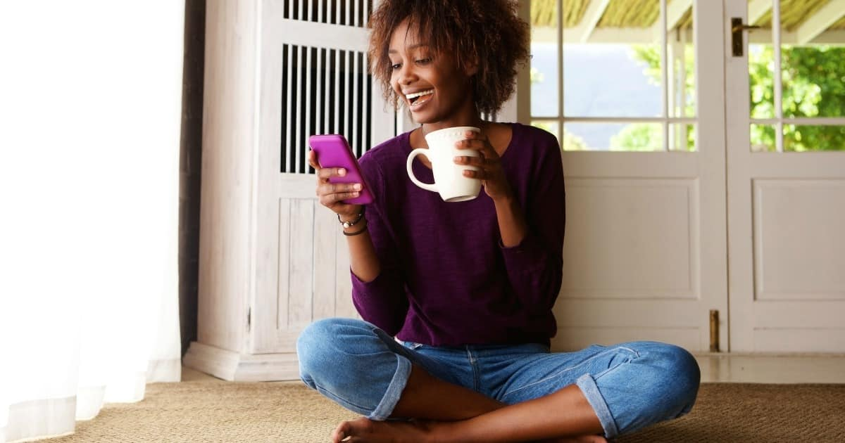 Woman looking at smart phone