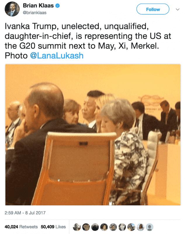 Ivanka Trump at the G20 table