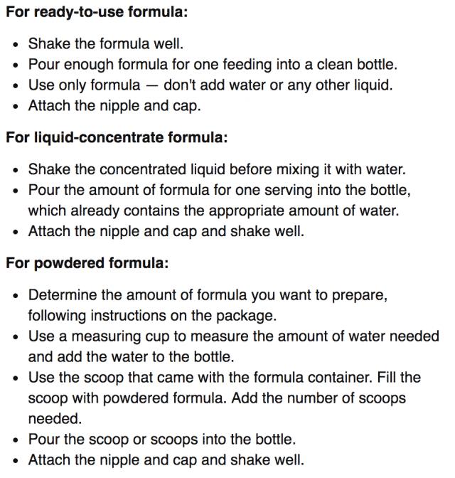 preparing formula