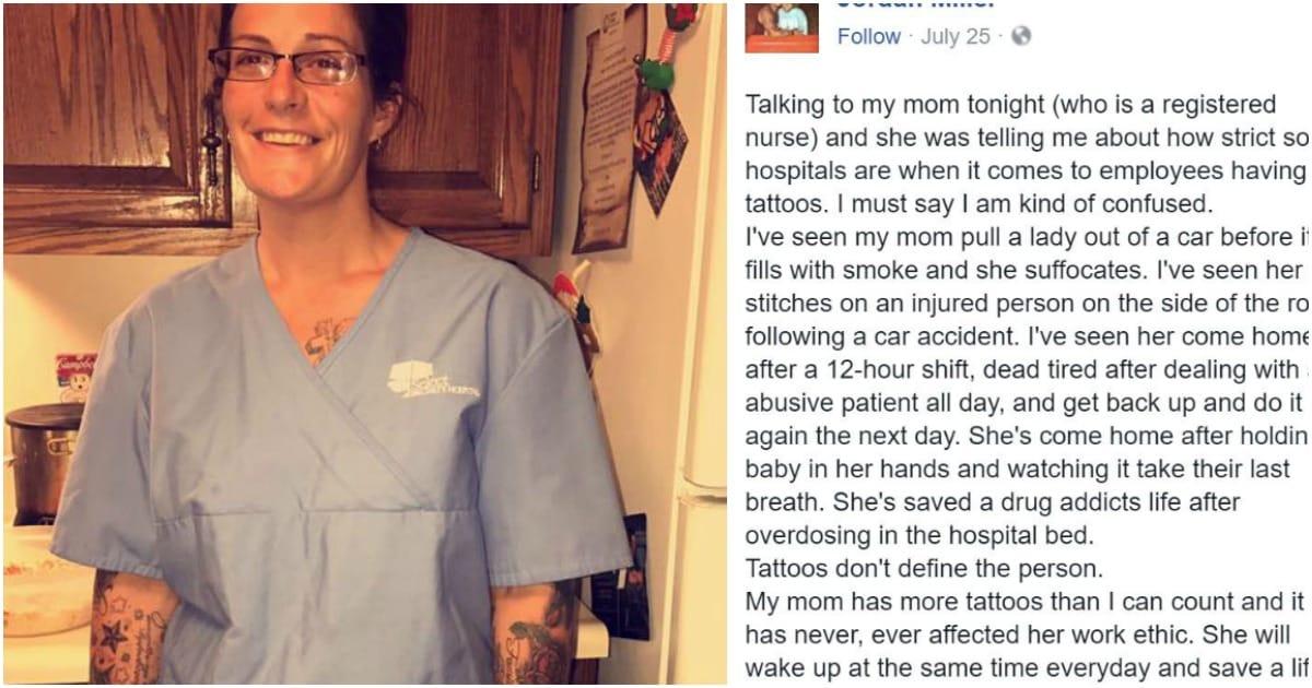 tattooed nurse son defends