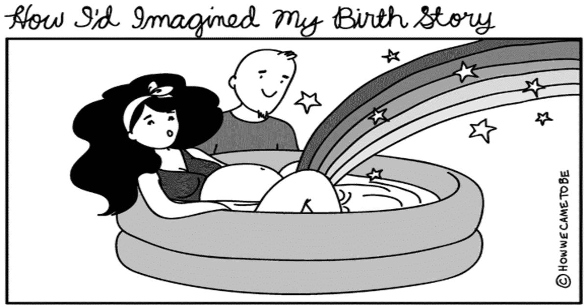 birth story cartoons show expectation vs reality of labor