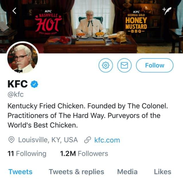 kfc twitter account