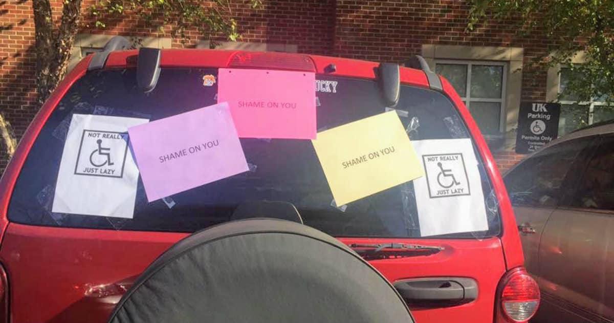 handicap parking space shaming