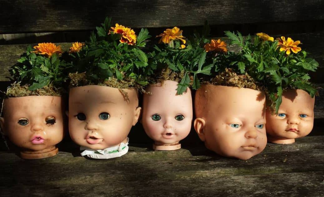 doll head planters