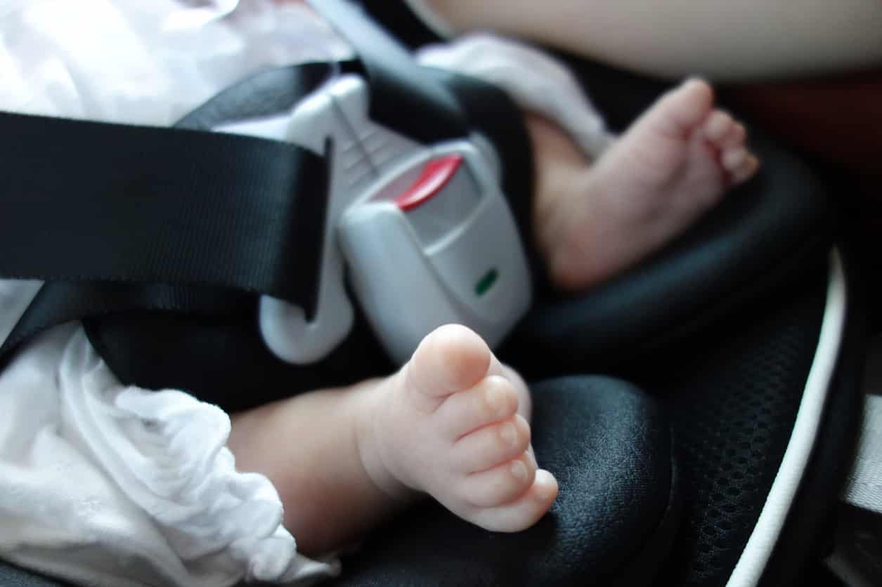 baby feet car seat