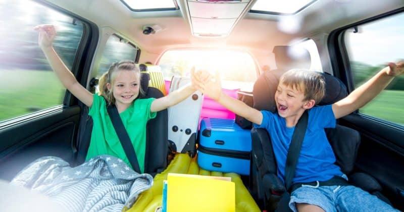 kids in car during road trip