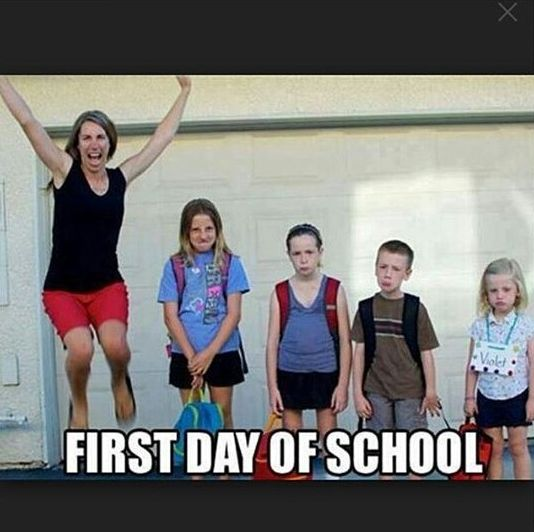 First day of school, kids, happy mom