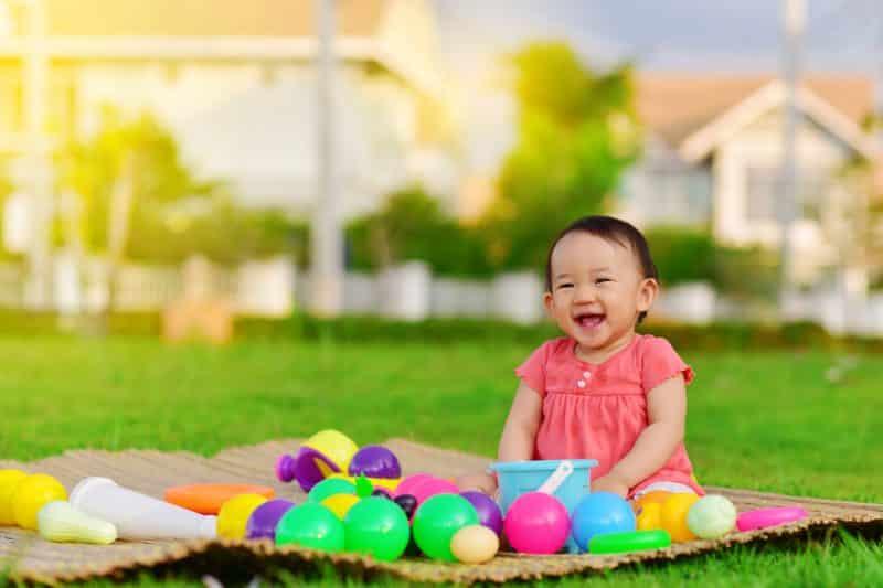 baby girl happy outside