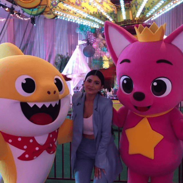 baby shark at stormi's first birthday party
