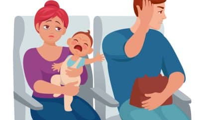 baby crying plane