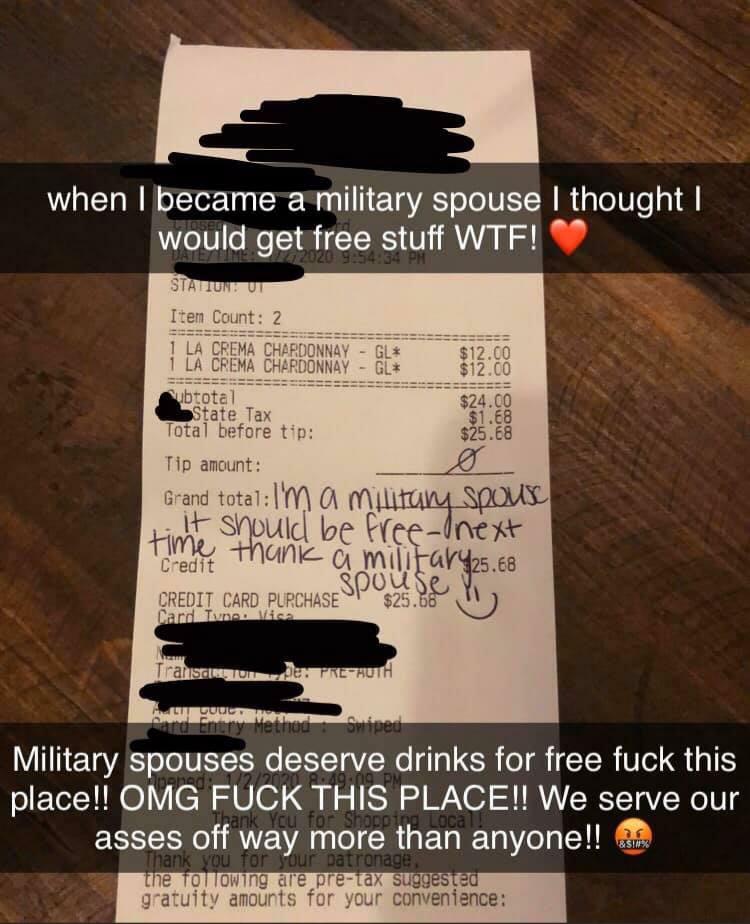 Military Spouse deserves free drinks